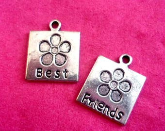 Set of 2 best friends 17x14mm silver plated charms