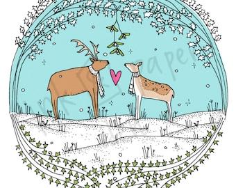 Woodland Christmas Card - Deer Love Card -  Winter Woodland Card - Deer Anniversary Card