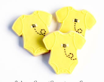 Half Dz. Bumble Bee Onsie Cookies! Bumbly Honey Bees are perfect for any Gender Neutral Gift!