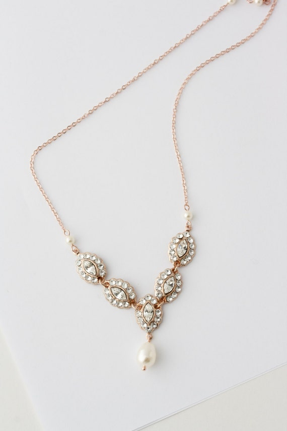 Rose Gold Bridal Necklace Delicate Wedding Necklace Simple