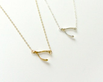 Sideways Wishbone Necklace, Layering Necklace, Wishbone Charm Jewelry, Silver Or Gold, BFF Necklace, Lucky Necklace, Christmas Gift Idea