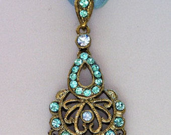 1928 Jewelry Sapphire/Aqua Crystal Organza Necklace