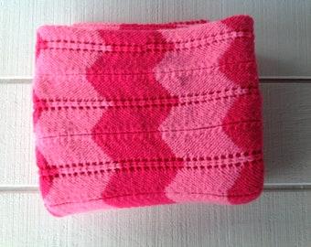Large vintage 70s hand crocheted afghan blanket throw hot pink chevron afghan Retro sofa throw lap blanket Mid Century Lodge decor 1970's