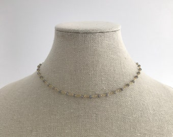 NEW - Simple Labradorite Rosary Chain Choker