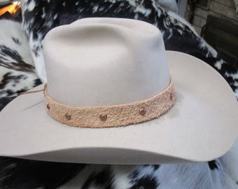 Leather Hatband, Natural Leather, Roughout Leather Hatband with Antique Copper Dome Spots and Adjustable Lace Tie