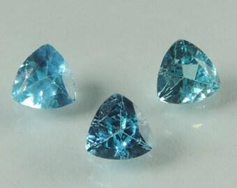 1.25 cts blue Apatite 5 mm faceted trillion cut Madagascar