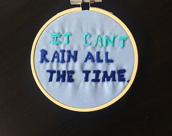 """4"""" The Crow 'It Can't Rain All the Time' Embroidery Piece"""