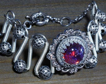Steampunk Jewelry - Bracelet - Dragon's Breath - Silver tone
