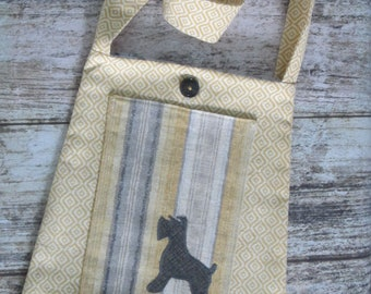 Bucket Bag/tote - Yellow and grey with Schnauzer silhouette on pocket