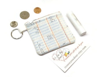 Math notebook ledger fabric coin purse,  math geekery gift, zippered coin pouch, change purse.