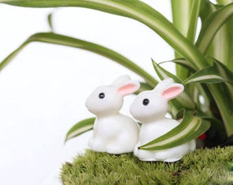 2 PCS/set Mini Rabbit Ornament Miniature Figurine Plant Pot Fairy Garden Decor
