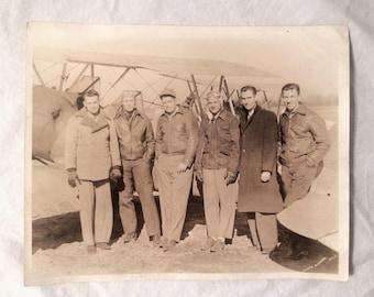 WWII Era Pilots Men with Airplane  Photo - 1940s - Sepia Black White Original