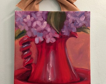 twisted, painting, hydrangea painting, country art, still life, floral still life, oil painting, ready to hang, original art