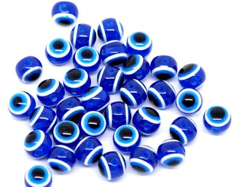 10 blue eyes acrylic round beads