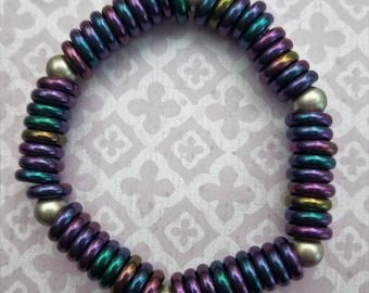 Handmade Rainbow Mardi Gras Bead Bracelet with Pewter Accents on a Strong Stretchy Cord