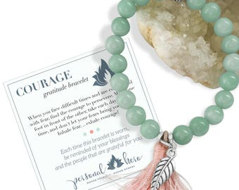 Have Courage Inspirational Bracelet, Amazonite Bracelet, Coworker Gift, Motivational Bracelet, Energy Bracelet With Pendant Gift For Friend