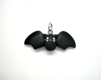 Cute polymer clay bat charm - stitch marker - necklace