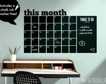 Chalkboard Calendar Wall Decal - Blackboard Decal Month - Free Chalk Ink Marker CHK-MCAL1