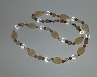 """Tan and Brown 34"""" Bead Necklace"""