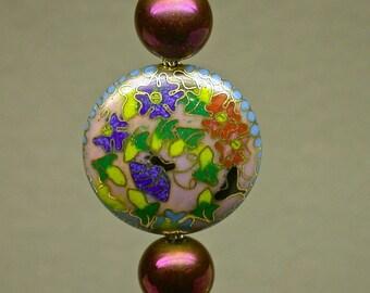 Vintage Chinese RARE Cloisonne Cobalt Blue Pink Butterfly Disk Bead Fan Pull,Black Stone Teardrop Pendant,ChinesePurple Metallic Glass Beads