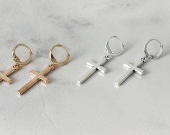 Cross Earrings, Gold Cross Earrings, Silver Cross Earrings, Cross Hoop Earrings, Drop Cross Charm Earrings, Minimalist Cross Earrings,