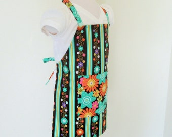 Childrens Apron - A Green and Brown Beauty...Kids Apron - Stripes and Flowers, great for cooking, baking, arts and crafts and painting