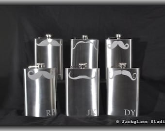 Groomsman Gift Set of 6 Etched Mustache Flasks with Funnel, Best Value, Quality Awesomemess by Jackglass on Etsy