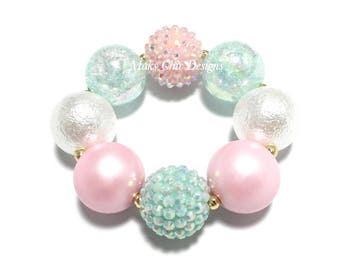 Toddler or Girls Pink, White and Mint Green Chunky bracelet - Pastel Easter Chunky Bracelet - Unicorn Bracelet - Pale Pink Chunky Bracelet