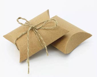 50x Kraft paper pillow boxes - wedding party baby shower candy chocolate Christmas gift box