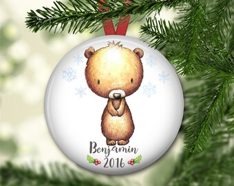 personalized Christmas ornaments for kids - baby's first christmas ornament - baby bear christmas ornament - ORN-PERS-4