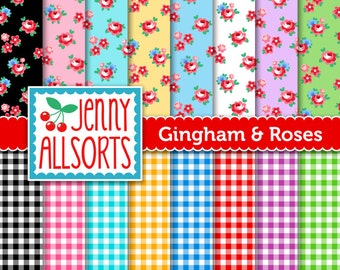 Gingham and Roses Digital Paper - Scrapbook Paper in Bright Pastels - for invites, card making, digital scrapbooking