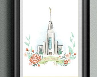 LDS Temple Twin Falls, Mormon Temple, Latter Day Saint Idaho Temple, flower wreath, flowers digital painting, printable file