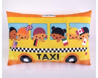 """Yellow Taxi Cab, Travel Pillow, Car Pillow, Lumbar Pillow, Throw Pillow, Cushion, Kids Room Decor, Stuffed Toy, Childrens Pillow, 17 x 10"""""""