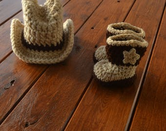Newborn Cowboy Outfit, Cowboy Hat and Boots Set Cowboy Hat Crochet Baby Cowboy Hat and Boots Baby Cowboy Outfit Photo Prop Cowboy Photo Prop