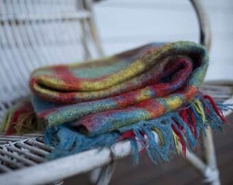 Mohair blanket, mohair throw, Glen Isle, Blue, green, red, vintage blanket, Pure Mohair, Afgan