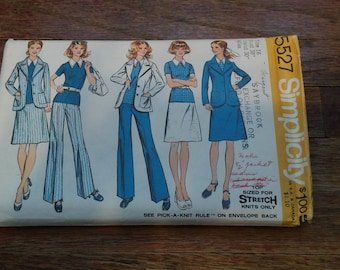 Vintage Simplicity Pattern 5527. Sized for Stretch Knits ONLY! Top, jacket, skirt, & pants.