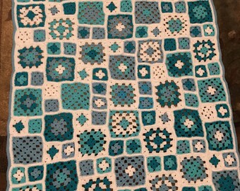 Crochet Patchwork Granny Square Afghan  Available in Multple Colors