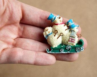 Snowman Christmas Brooch Gift Xmas Pin