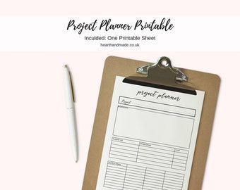USLetter Size Craft/DIY Project Planning Printable For Your Planner
