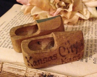 Miniature Wooden Clogs~ Kansas City Souvenir, Mini Dutch Shoes, Hand Painted, Hand Carved, Traveling Souvenir, State Keepsake