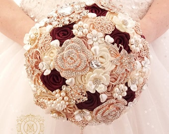 Champagne burgundy brooch bouquet. Rose gold jeweled wedding bridal crystal bling boquet. Luxury unique bouquet by MemoryWedding
