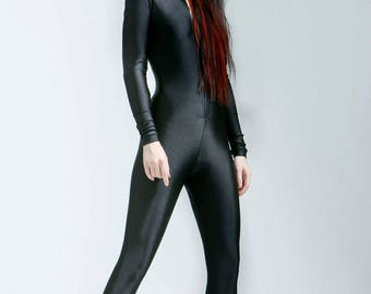 Heavyweight Hooded Scuba Knit Black Bodysuit Great For Cold Weather - Free Shipping