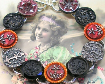 """SALE Birds, Antique BUTTON  bracelet, Victorian glass with flowers in red & black. 7.5"""" one-of-a-kind jewellery. Price reduced."""