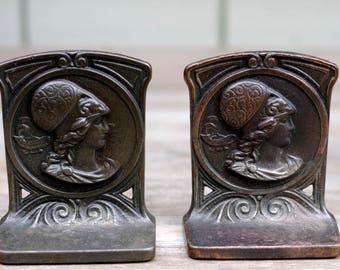 Cast Iron Book Ends, Bookends, Art Nouveau