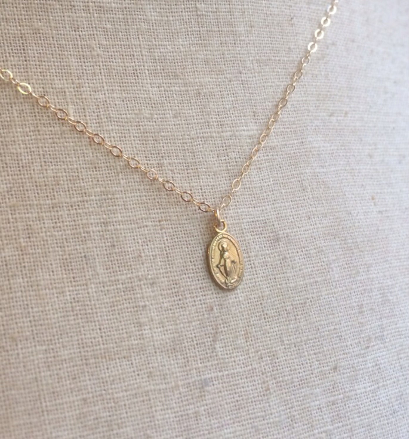 Tiny Gold Miraculous Medal Virgin Mary Necklace Miraculous