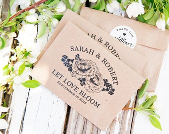 Wedding Favor Seed Packets - Personalized Seed Favors - Peony Design with Wildflowers inside  - Flower Seeds included - 30 Packets or more