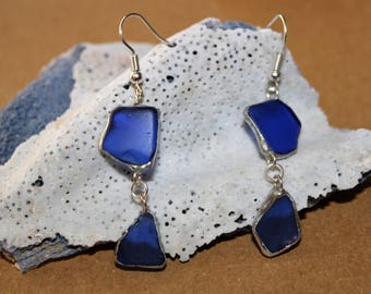 Cobalt Blue Sea Glass Duo Earrings