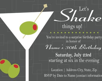 Customizable Let's Shake Things Up Party Invitation [Digital File ONLY]