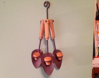 Shovels with Three Mini Clay Pots