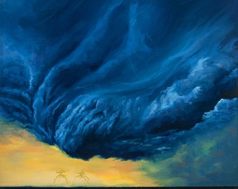 """Eve of the storm . War of the Worlds aliens science fiction clouds 25x21"""" oil painting"""